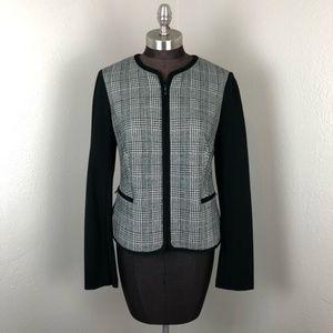 Talbots Women's Black Glen Plaid Zip Blazer 8